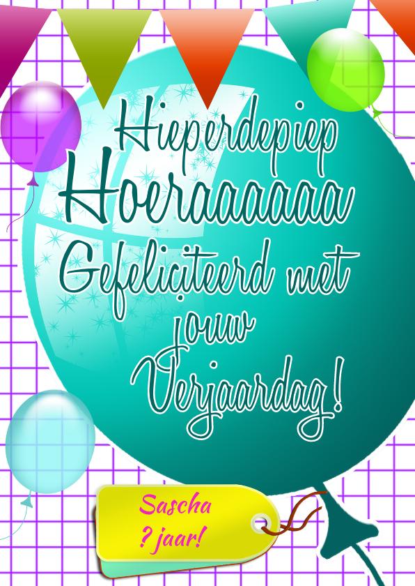 Verjaardagskaarten - ballonnen plaats zelf tekst e
