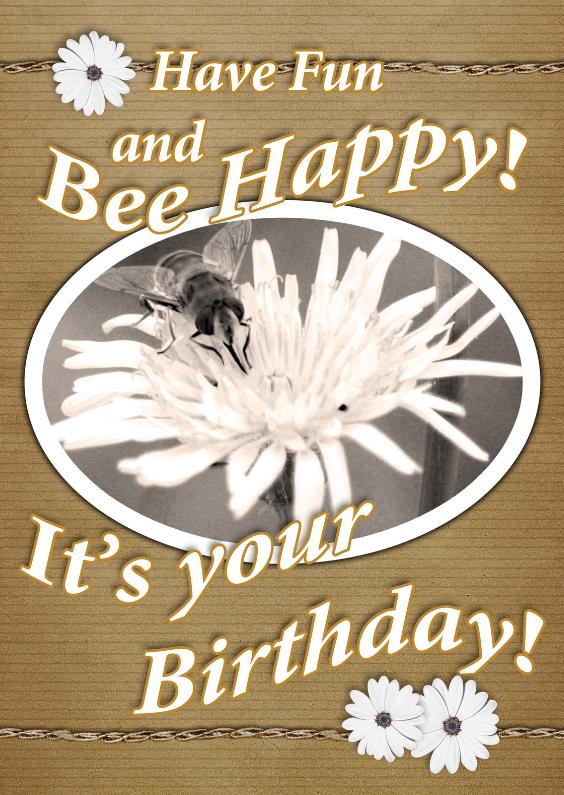 Verjaardagskaarten - Bee happy vintage bloemen a