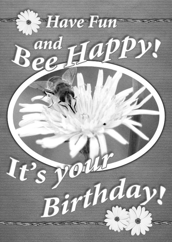 Verjaardagskaarten - Bee happy vintage bloemen b