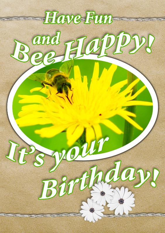 Verjaardagskaarten - Bee happy vintage bloemen c