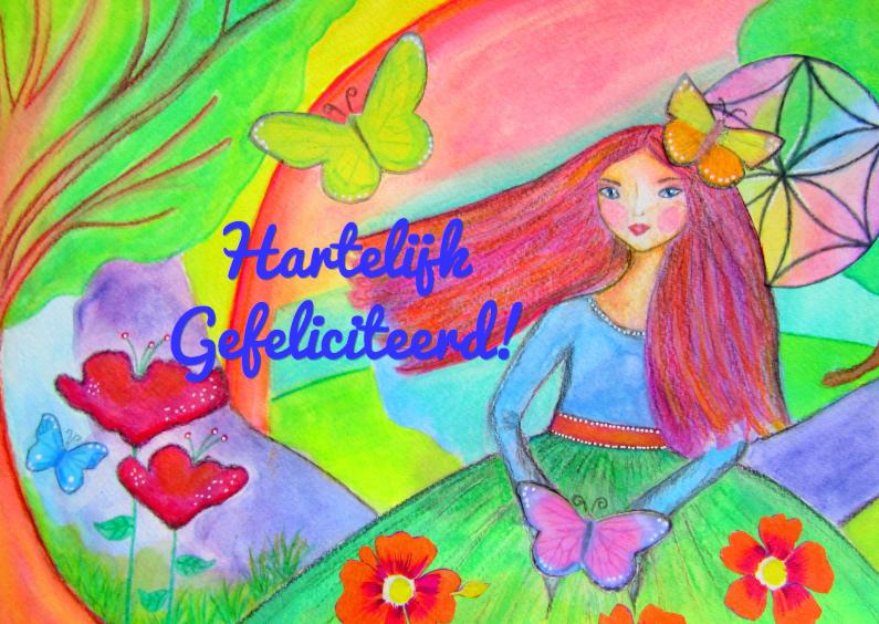 Verjaardagskaarten - Birthday Butterfly Girl