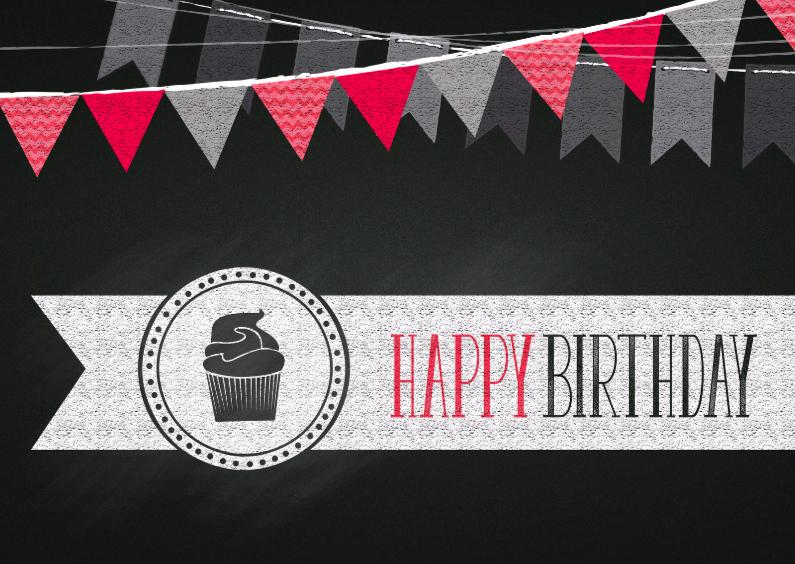 Verjaardagskaarten - Birthday cupcake krijt