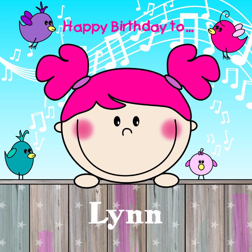 Verjaardagskaarten - BLIJ kaartje met vrolijk meisje