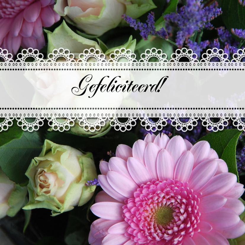 Verjaardagskaarten - Bloemen en kant