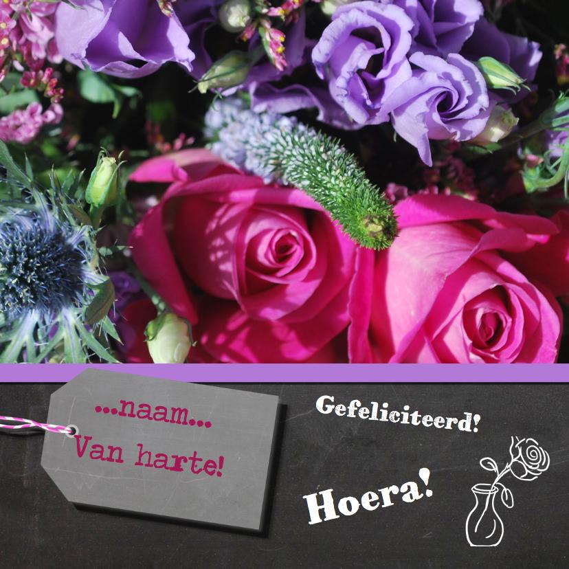Verjaardagskaarten - Bloemen krijtbord