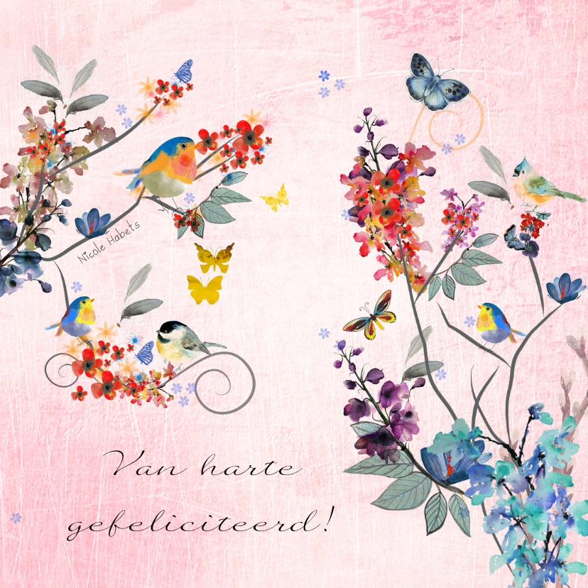 Verjaardagskaarten - Bloemen vlinders en vogels