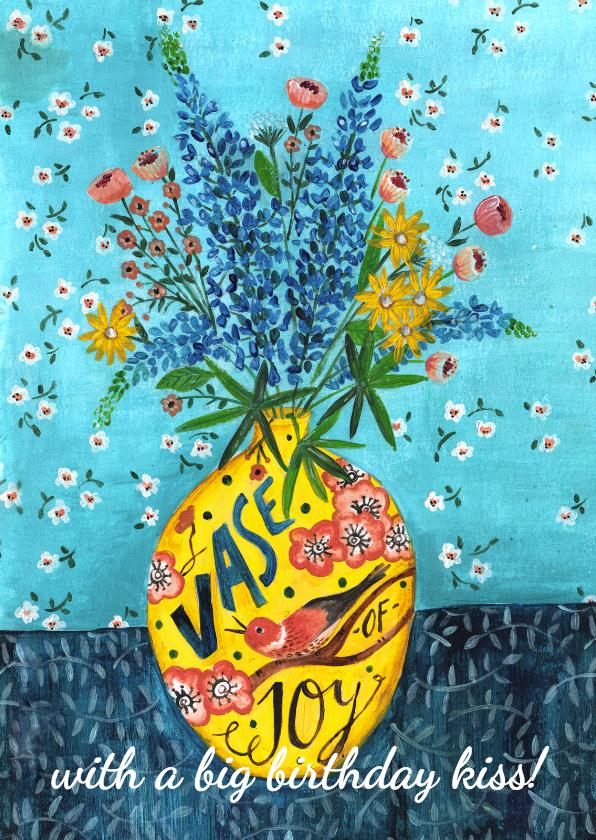 Verjaardagskaarten - Bloemen voor de jarige Gele Vaas