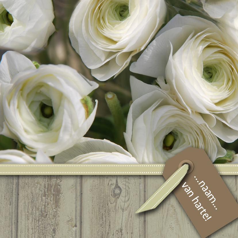 Verjaardagskaarten - Bloemenkaart wit bruin grijs