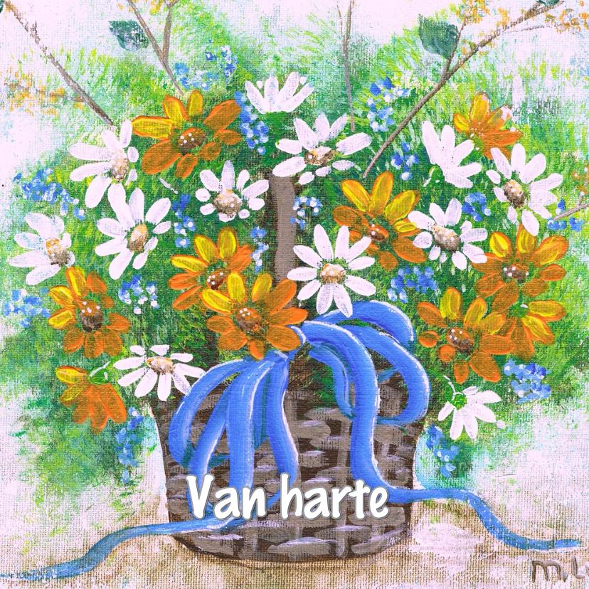 Verjaardagskaarten - Bloemenmandje met veldbloemen