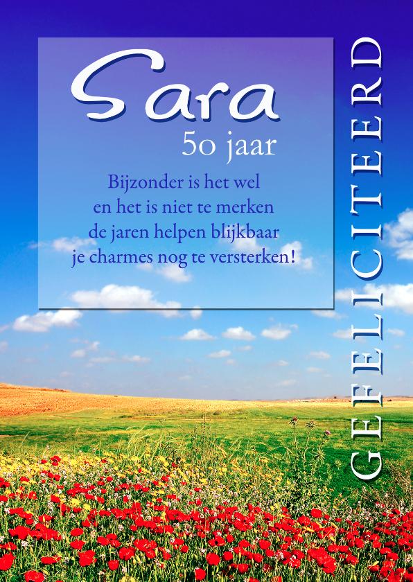 Verjaardagskaarten - Bloemenveld Sara 50 jaar