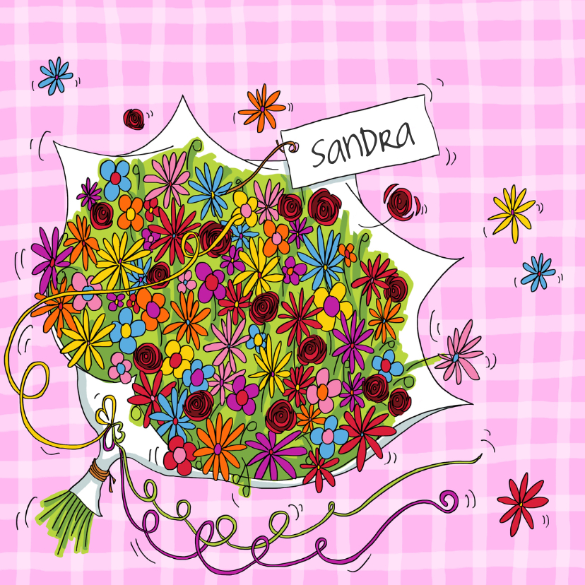 New Bos bloemen verjaardag vrouw | Kaartje2go #YW51