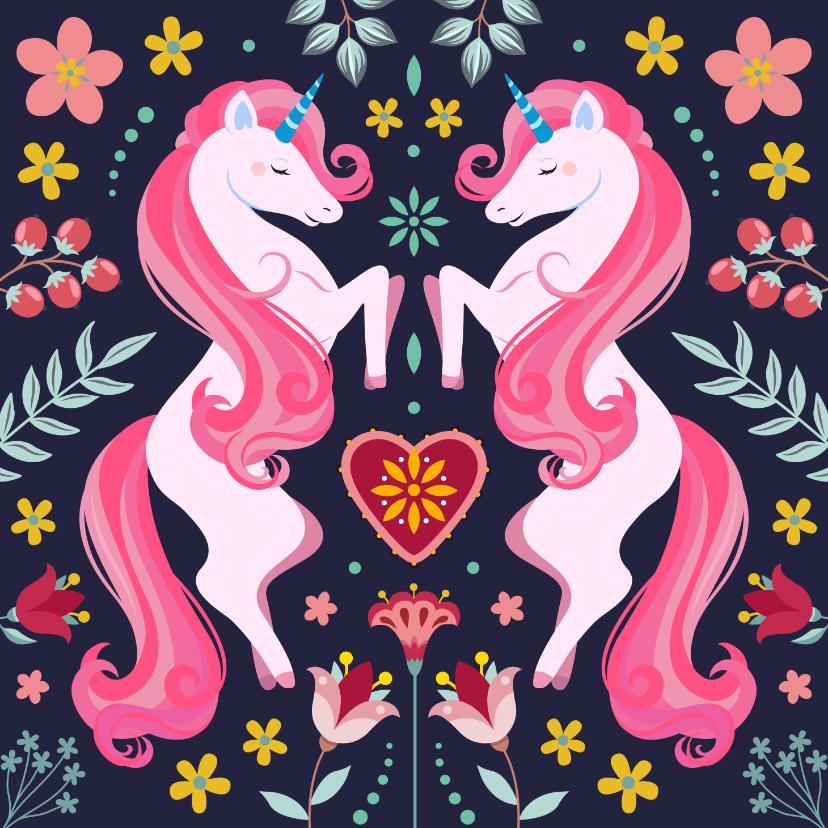 Verjaardagskaarten - Botanische unicorn verjaardagskaart