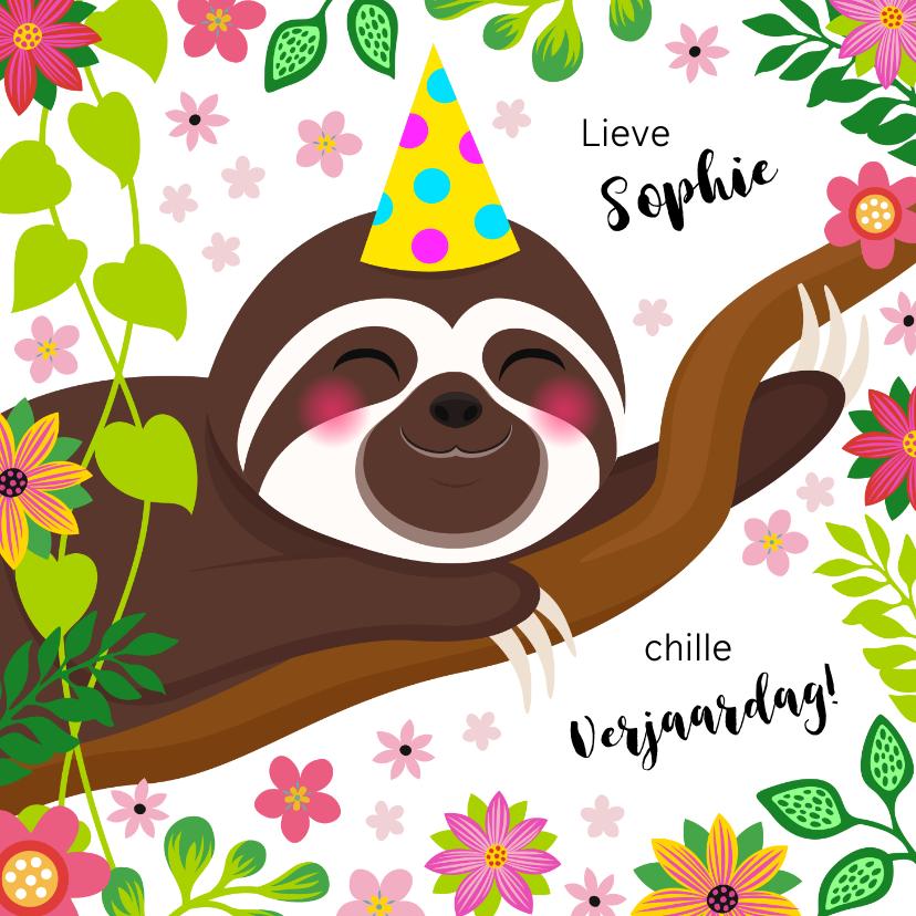 Verjaardagskaarten - Botanische verjaardagskaart luiaard