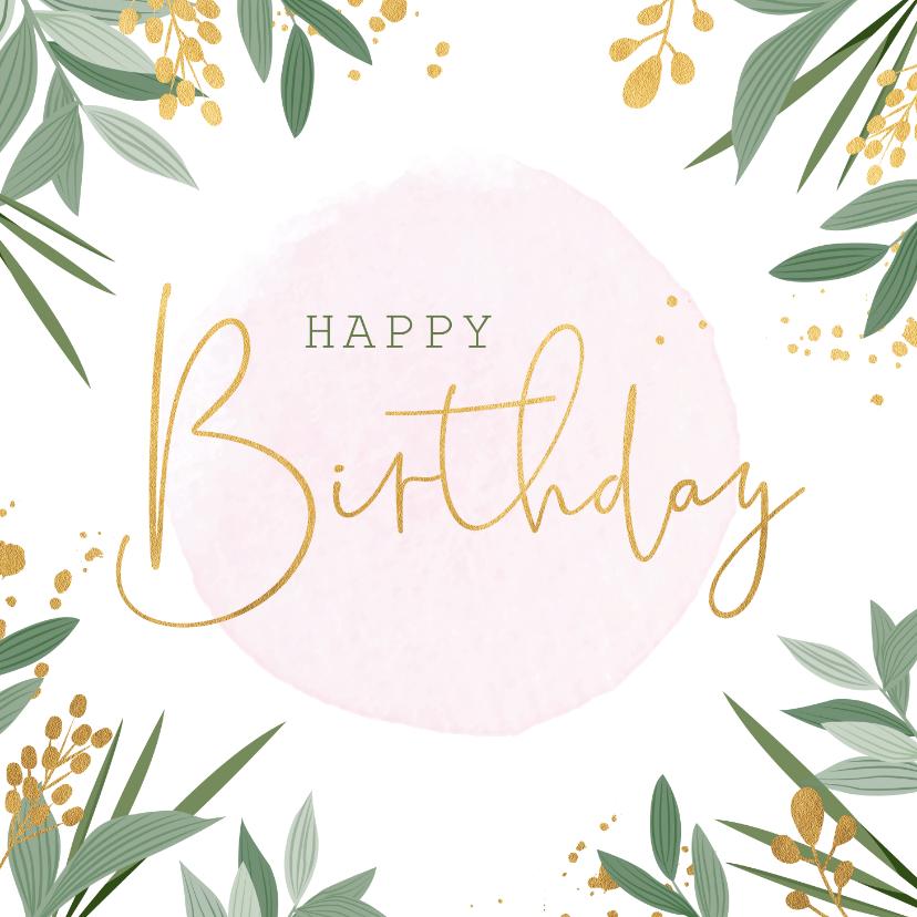 Verjaardagskaarten - Botanische verjaardagskaart met gouden accenten