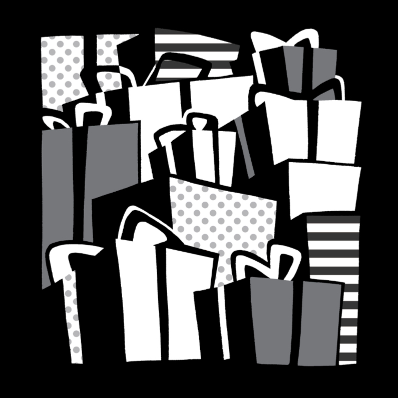 Verjaardagskaarten - Cadeautjes Zwart-Wit