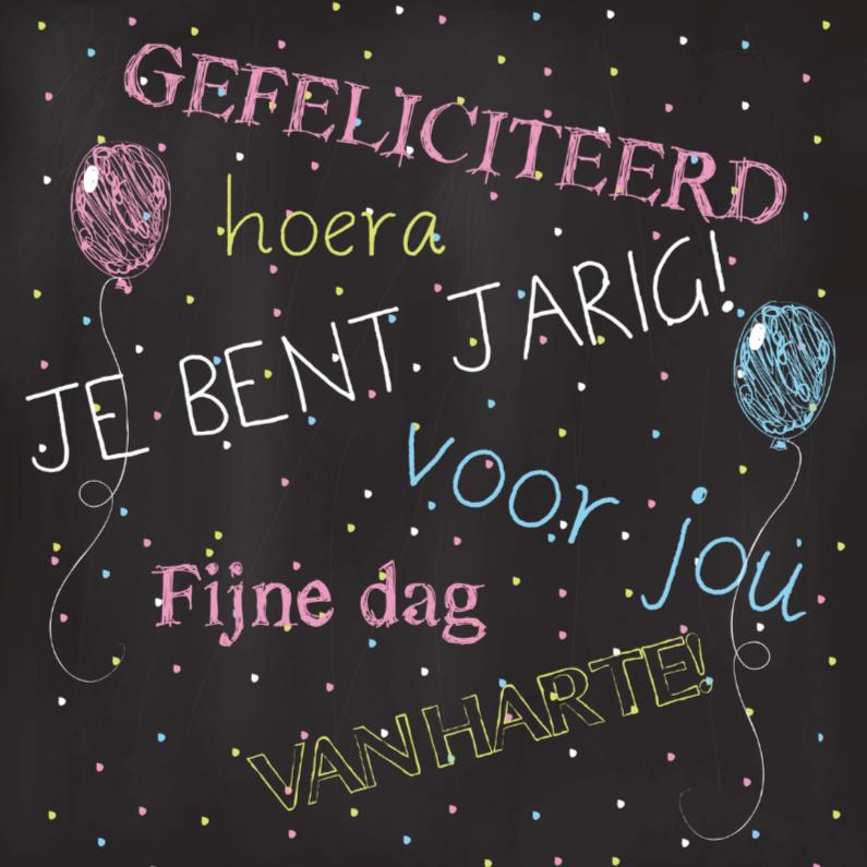Verjaardagskaarten - Chalkboard Jarig