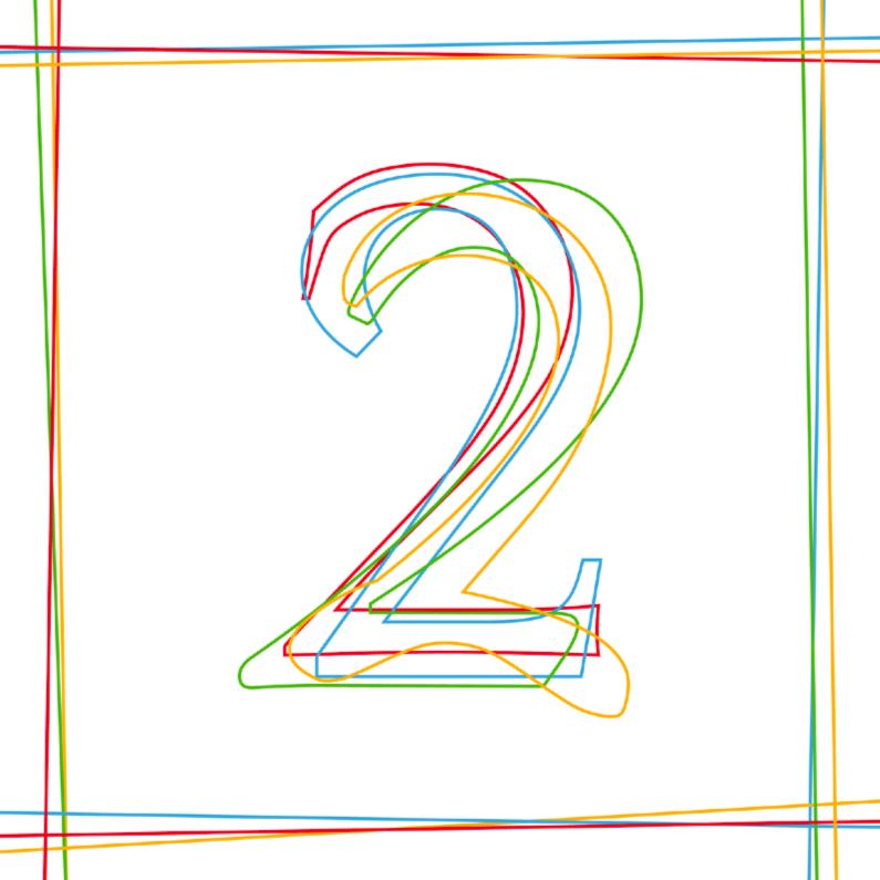 Verjaardagskaarten - Cijferkaart verjaardag 2