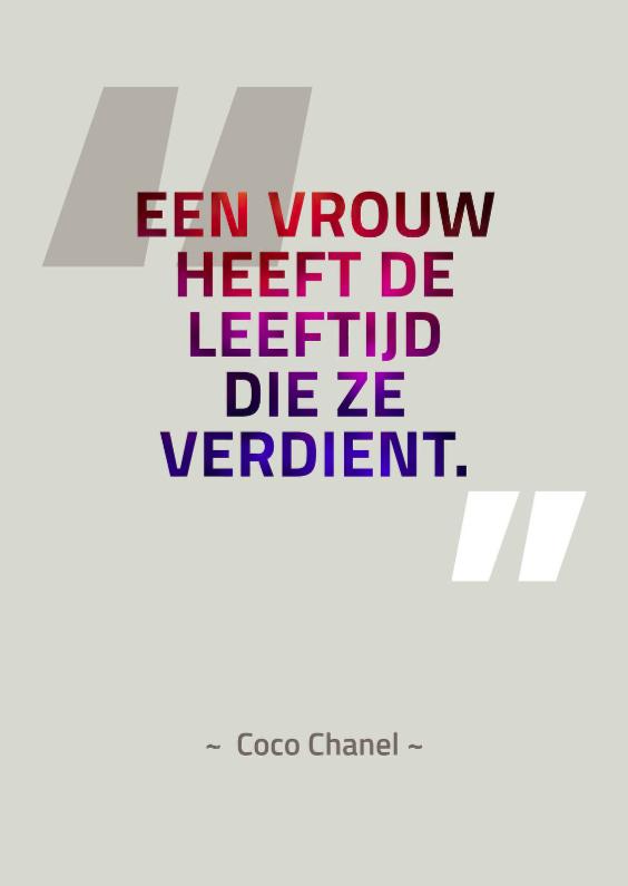 Verjaardagskaarten - Citaat Coco Chanel - leeftijd