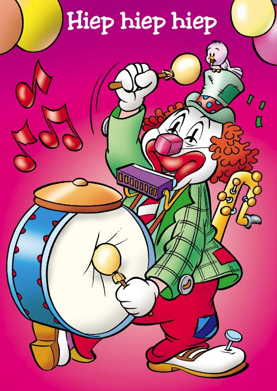 Verjaardagskaarten - clowns verjaardag 10 clown met trom