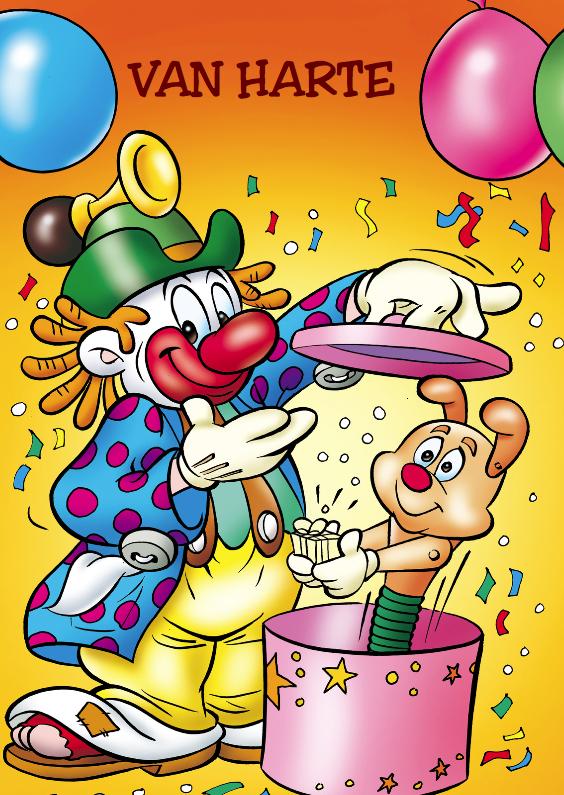 Verjaardagskaarten - clowns verjaardag 3 clown met hondje