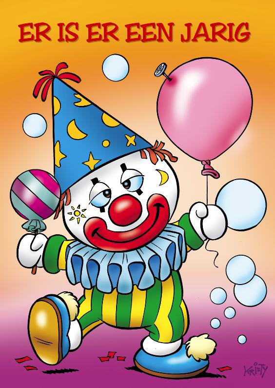 Verjaardagskaarten - clowns verjaardag 6 kinderclowntje