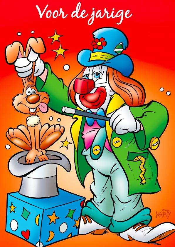 Verjaardagskaarten - clowns verjaardag 8 clown met konijn