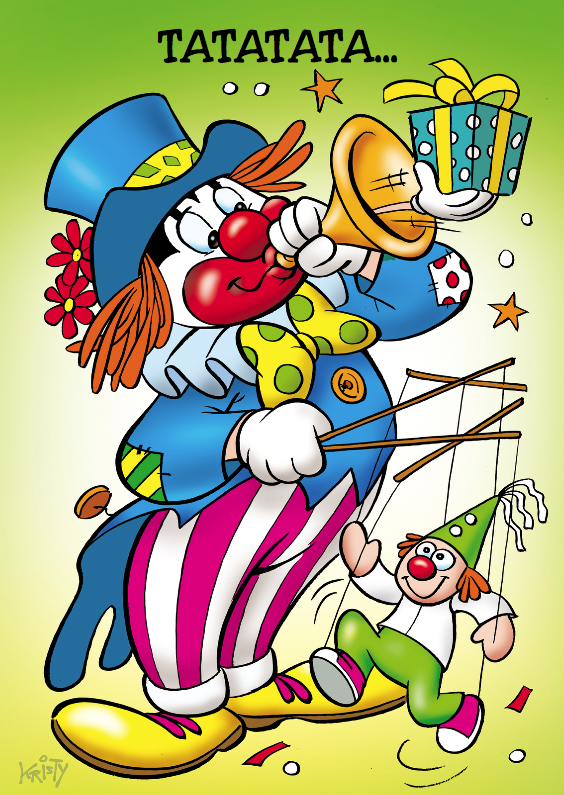 Verjaardagskaarten - clowns verjaardag 9 clown met trompet