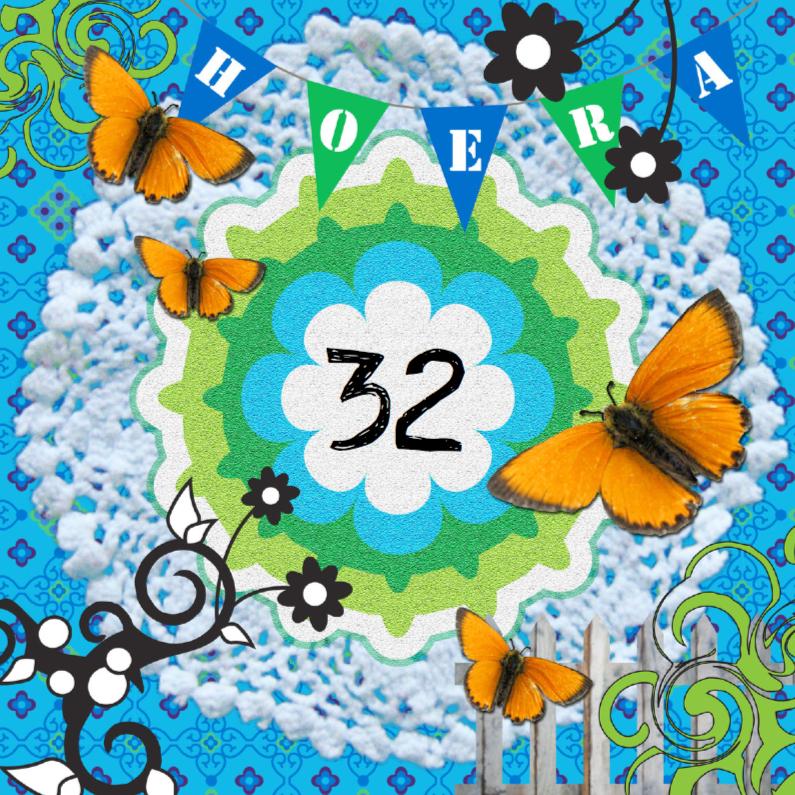 Verjaardagskaarten - Collagekaart bloemen en vlinders