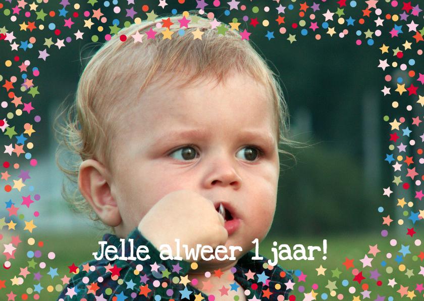 Verjaardagskaarten - Confettikader sterren Eigen Foto