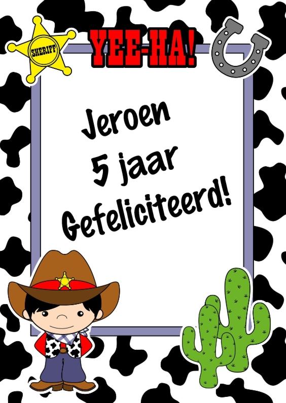 Verjaardagskaarten - Cowboy felicitatiekaart