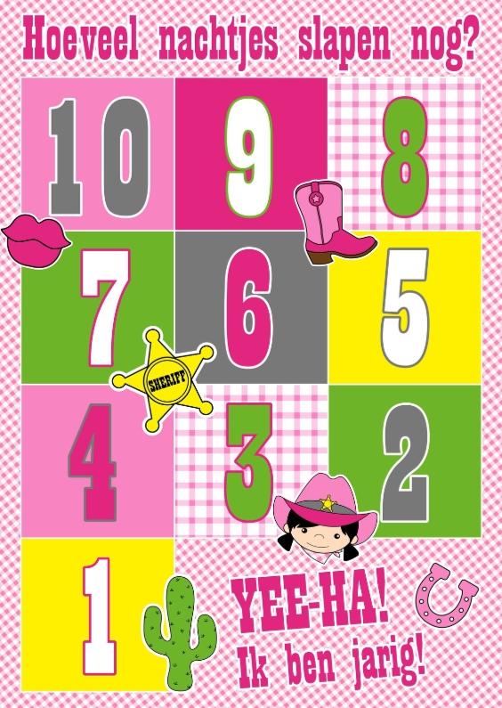 Verjaardagskaarten - Cowgirl aftelkalender kaart