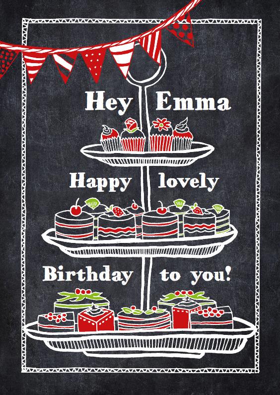 Verjaardagskaarten - Cupcakes op krijtbord met naam