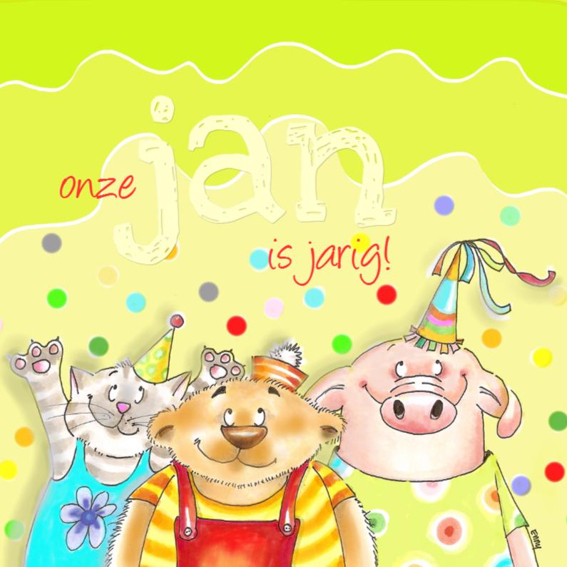 Verjaardagskaarten - de kat de beer en het varkentje