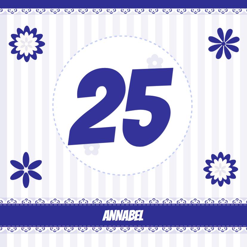 Verjaardagskaarten - delfsblauw met eigen leeftijd