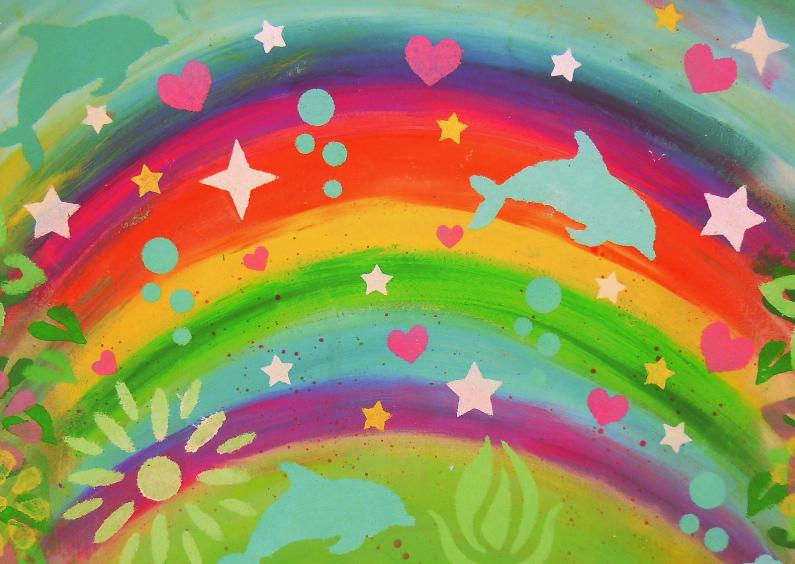 Verjaardagskaarten - Dolfijn feestje met regenboog