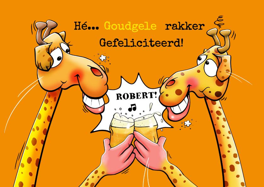 Verjaardagskaarten - Een grappige en verrassende verjaardagskaart met 2 giraffen
