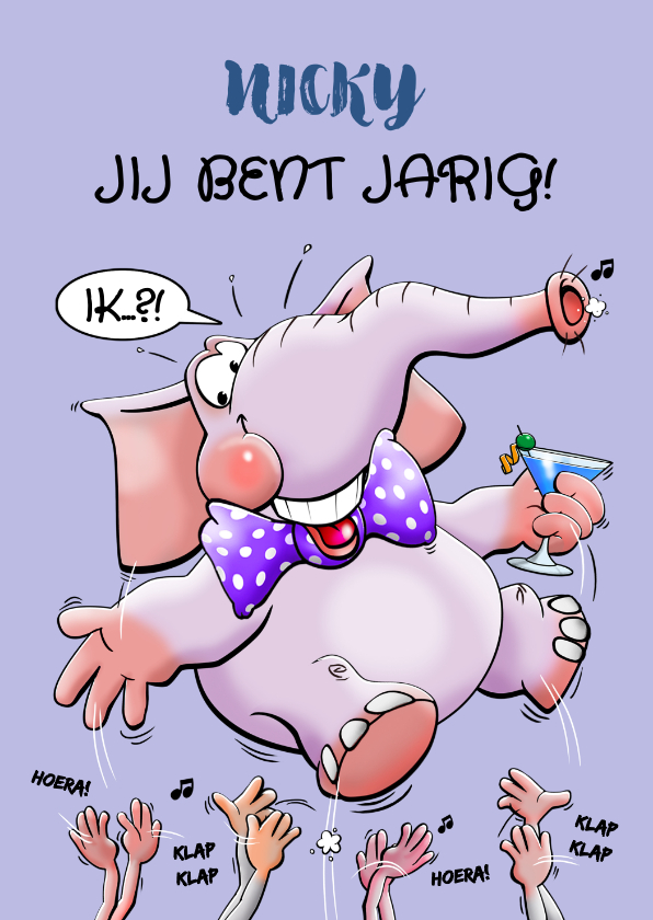 Verjaardagskaarten - Een grappige verjaardagskaart met olifant en handen