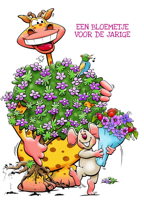 Verjaardagskaarten - Een hele grappige verjaardagskaart met giraf en muisje
