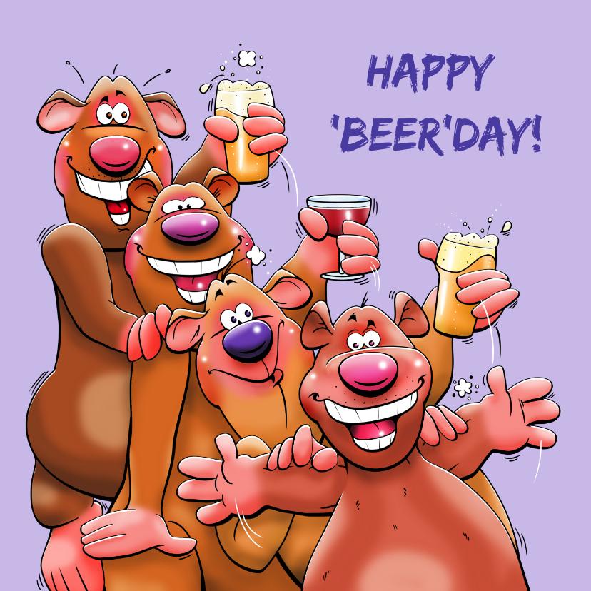 Verjaardagskaarten - Een leuke en grappige verjaardagskaart met 4 beren
