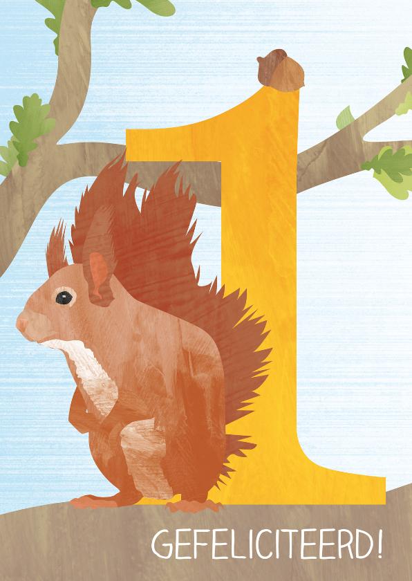Verjaardagskaarten - Eerste verjaardag met eekhoorn