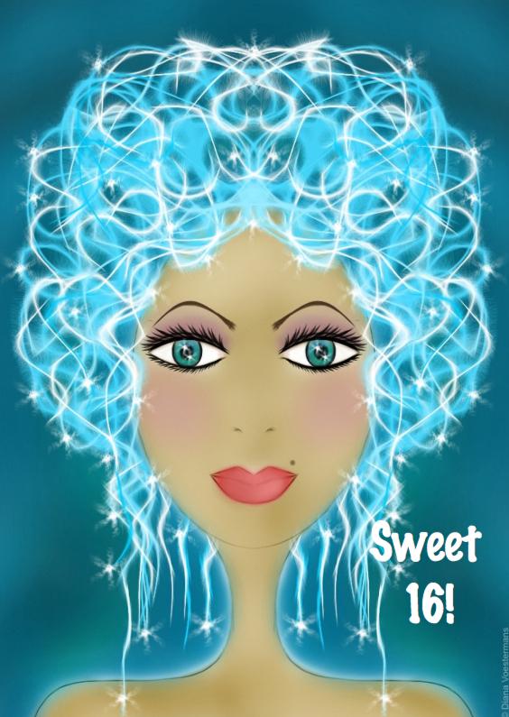Verjaardagskaarten - FACES sweet sixteen