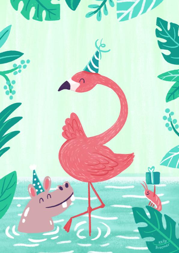 Verjaardagskaarten - Feestelijke Flamingo en vrienden