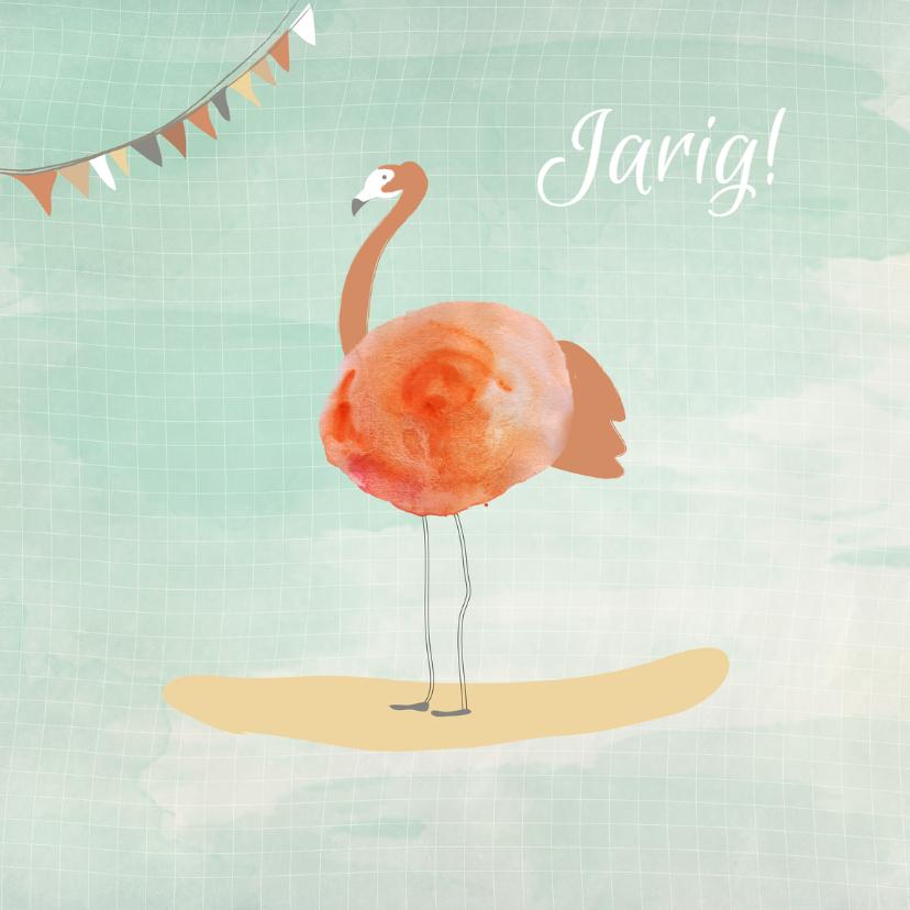Verjaardagskaarten - Feestelijke Flamingo