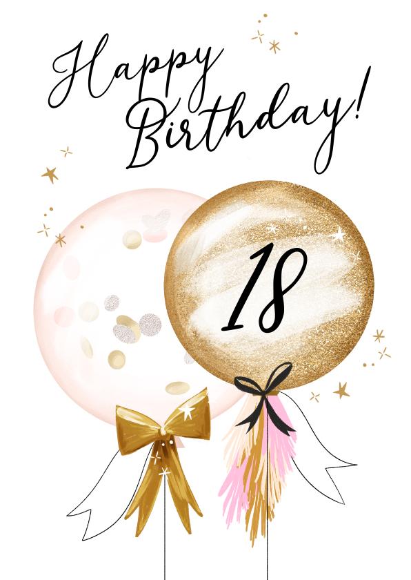 Verjaardagskaarten - Feestelijke kaart met ballonnen, confetti en sterretjes