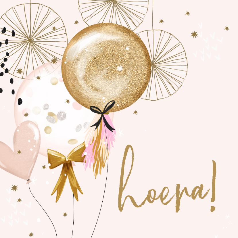 Verjaardagskaarten - Feestelijke kaart met feestversiering en ballonnen