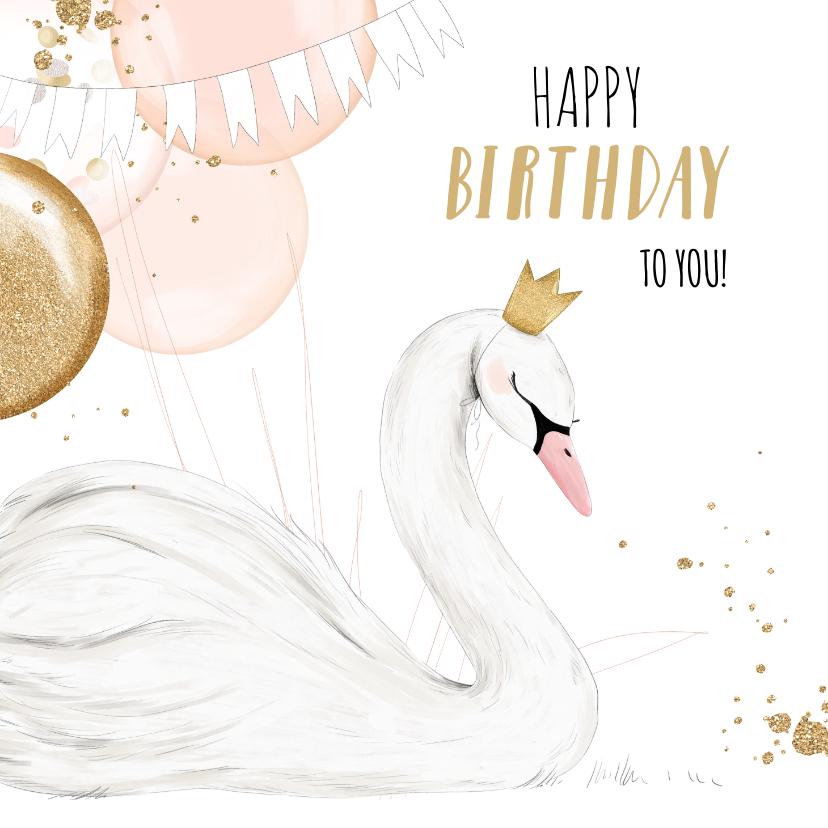 Verjaardagskaarten - Feestelijke kaart met geïllustreerde zwaan en ballonnen