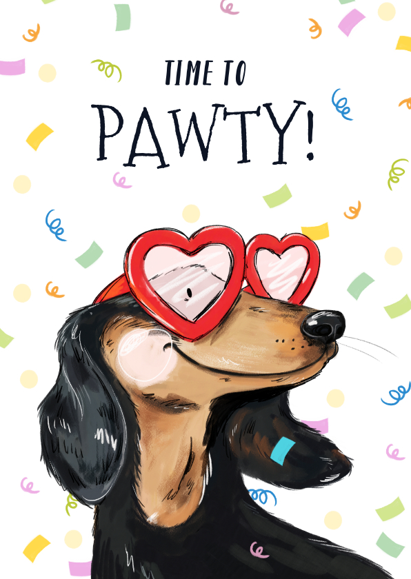 Verjaardagskaarten - Feestelijke verjaardagskaart met geïllustreerde hond