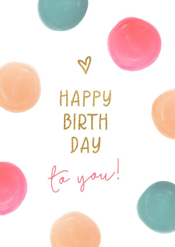 Verjaardagskaarten - Feestelijke verjaardagskaart met kleurrijke stippen