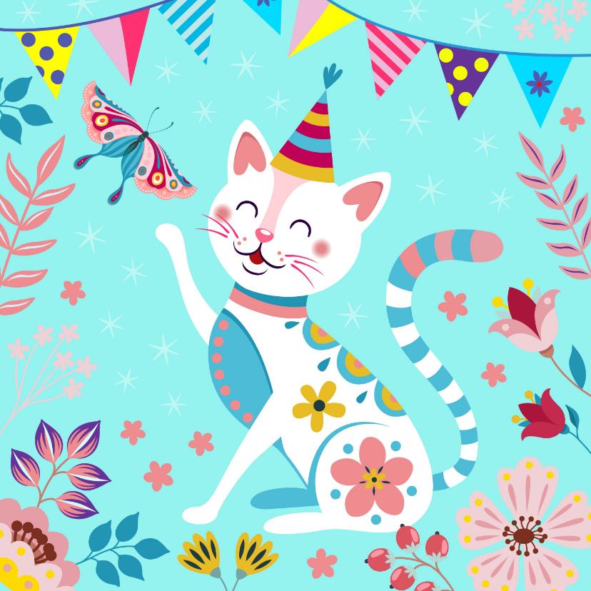 Verjaardagskaarten - Feestelijke verjaardagskaart met poesje en vlinder