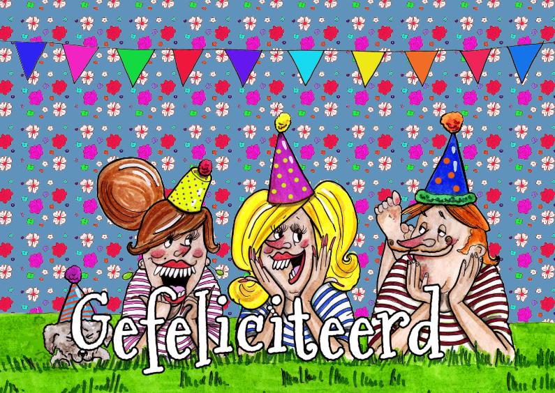 Verjaardagskaarten - Feestmutsjes in het gras